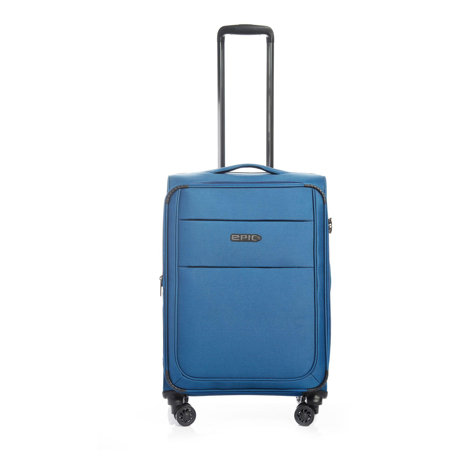 EPIC Discovery Ultra mjuk resväska, 4 hjul, 55/67/77 cm, Blå, 65cm