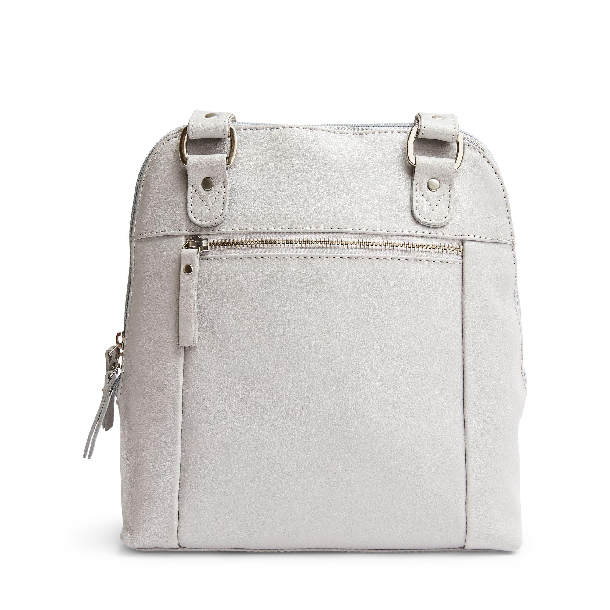 M.Collection Dora ryggsäck i skinn, 26 cm, Ljusgrå