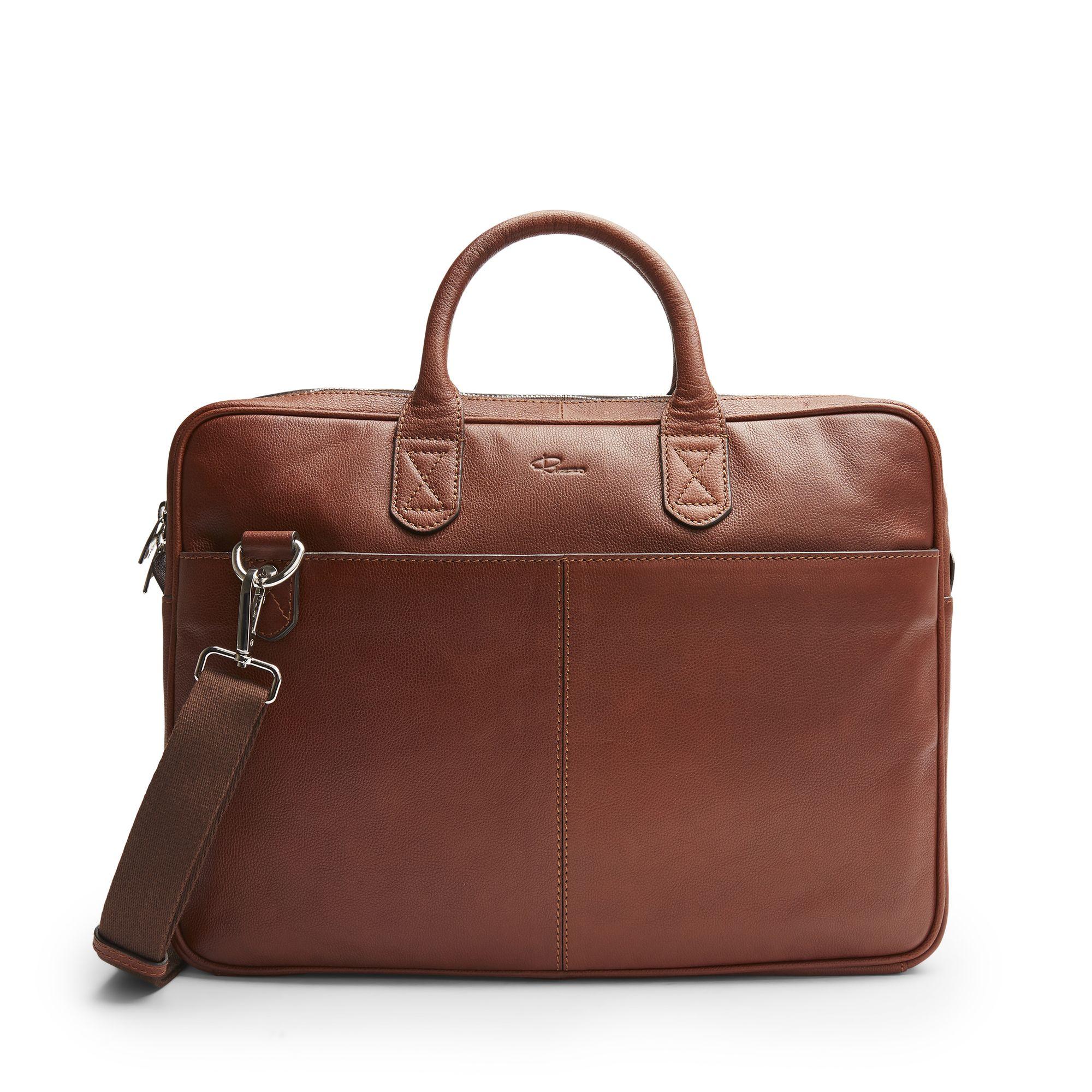DD Mark Slim Briefcase, portfölj i skinn, Cognac