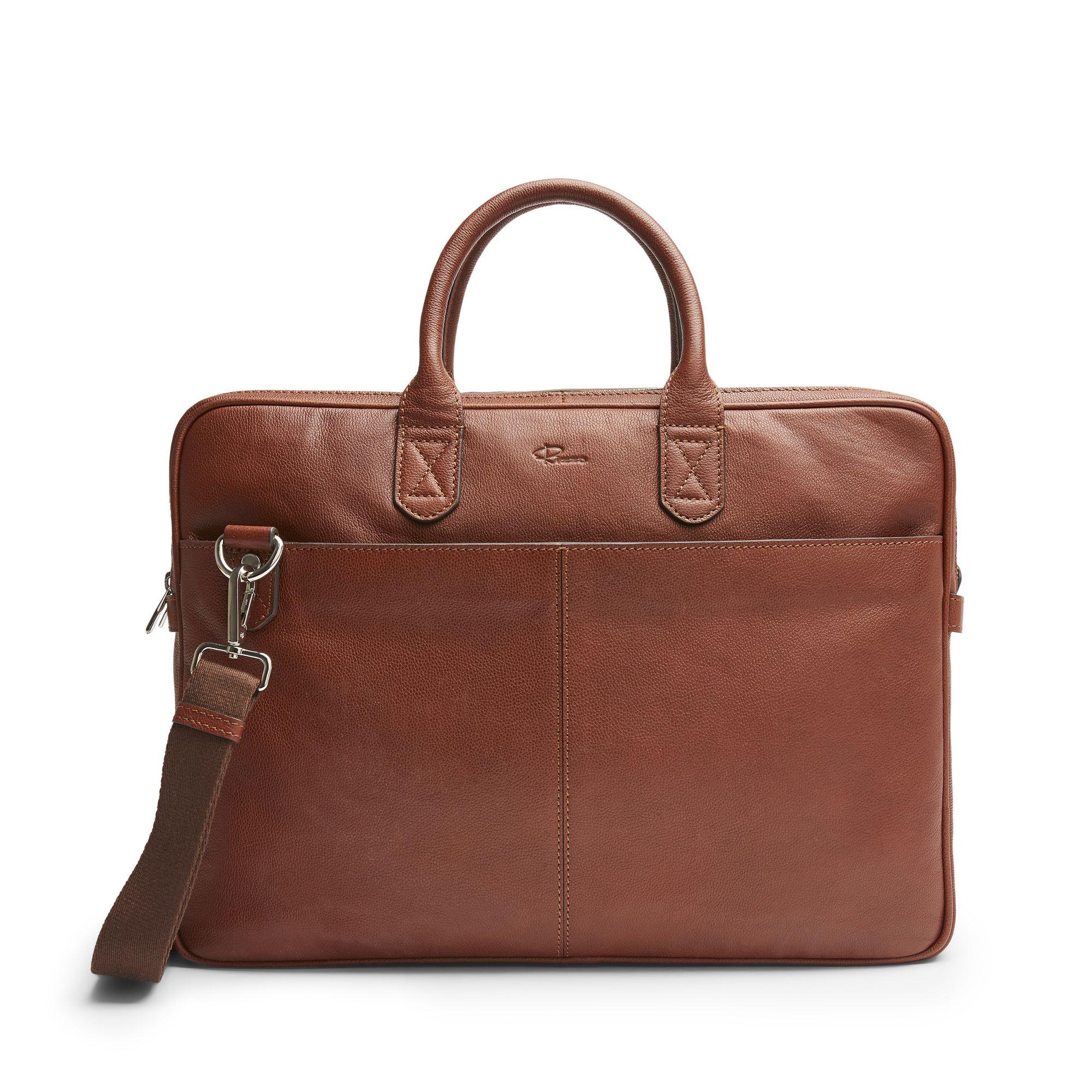 DD Mark Wide Briefcase, portfölj i skinn, Cognac