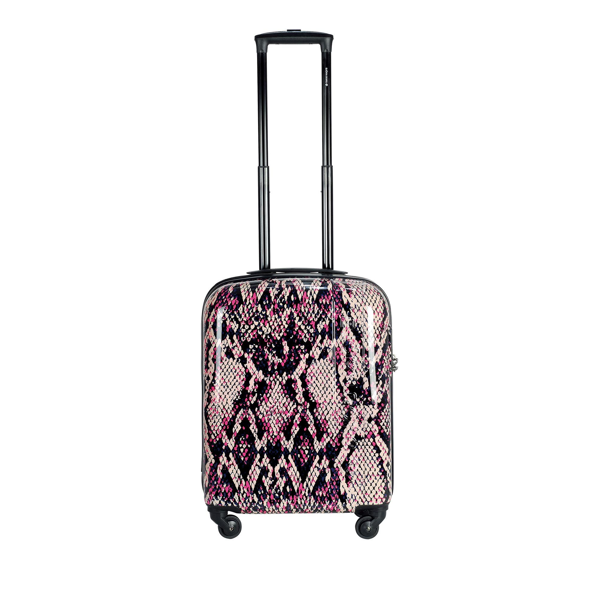 Björn Borg Hot Solid resväska med 4 hjul, 55/65/78 cm, Rosa med mönster, 55cm