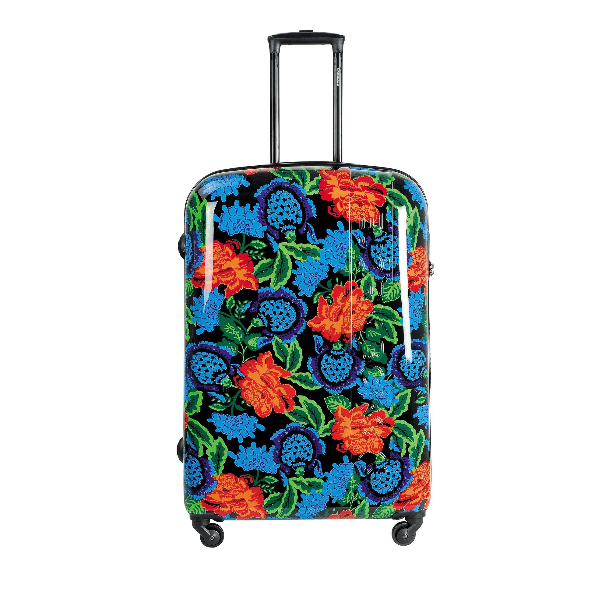 Björn Borg Hot Solid resväska, 4 hjul, 55/65/78 cm, Svart med mönster, 78cm